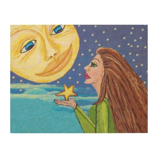 La cara de luna sonriente amarilla protagoniza a cuadro de madera
