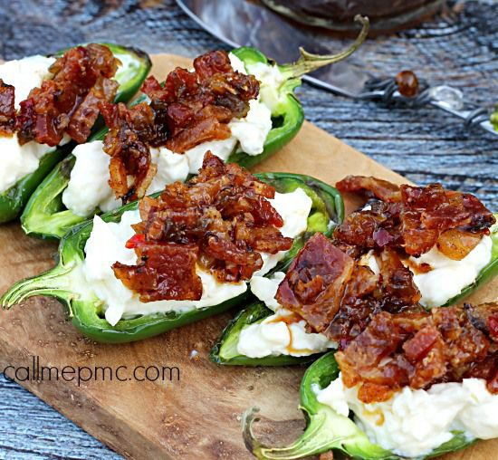 Grilled Stuffed Jalapeno Peppers with Brown Sugar Bacon - spicy jalapenos stuff with creamy cheese and topped with sweet and smokey bacon.
