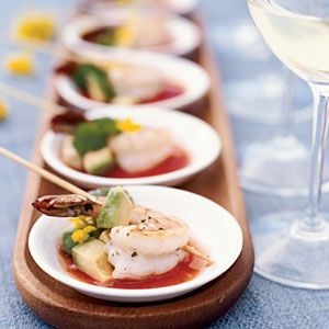 Marinating shrimp in a seafood brine ensures moisture retention and enhances the flavors of this exquisite hors d'oeuvre. Score big with guests by pairing with tangy sangrita and a glass of crisp white wine. You'll score big with guests at your next party.