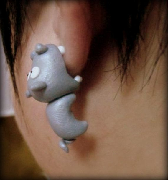 Cute Hippo Eat My Ear Shape Polymer Clay Earrings S019 on Etsy, $21.58 AUD
