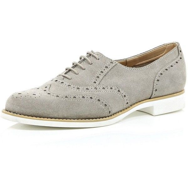 River Island Grey suede lace up brogues (£40) ❤ liked on Polyvore featuring shoes, oxfords, flats, grey, sale, shoes / boots, women, lace up flats, grey flat shoes and grey oxfords