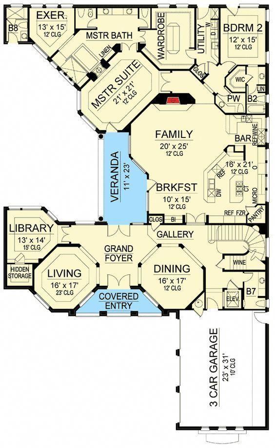 luxury hill country house plan 36486tx floor plan main level rh pinterest com