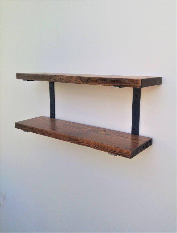 double wall mounted shelf bracket set holds two shelves raw c rh pinterest com