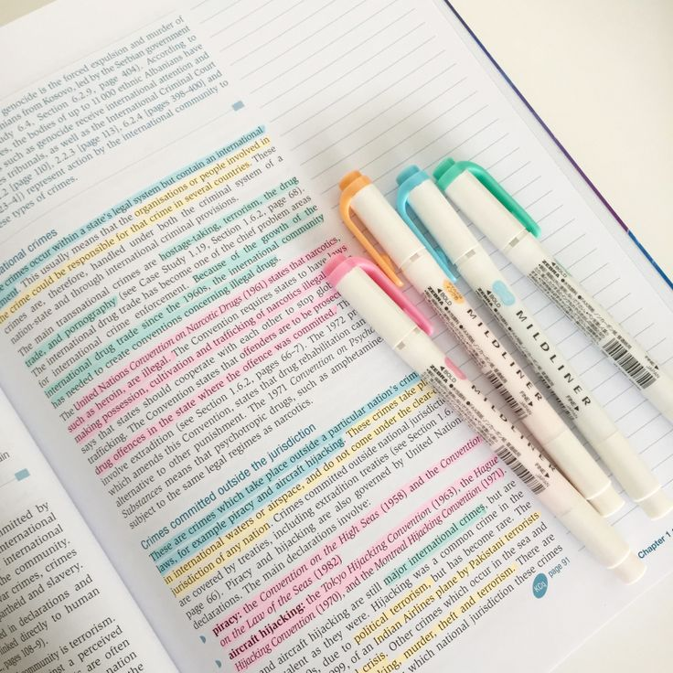 [ taken from my instagram: emmastudiess ] highlighting my legal studies textbook with pastel highlighters. they're great for textbooks which have thin paper since the colour doesn't bleed through as much as darker colours. + mildliners