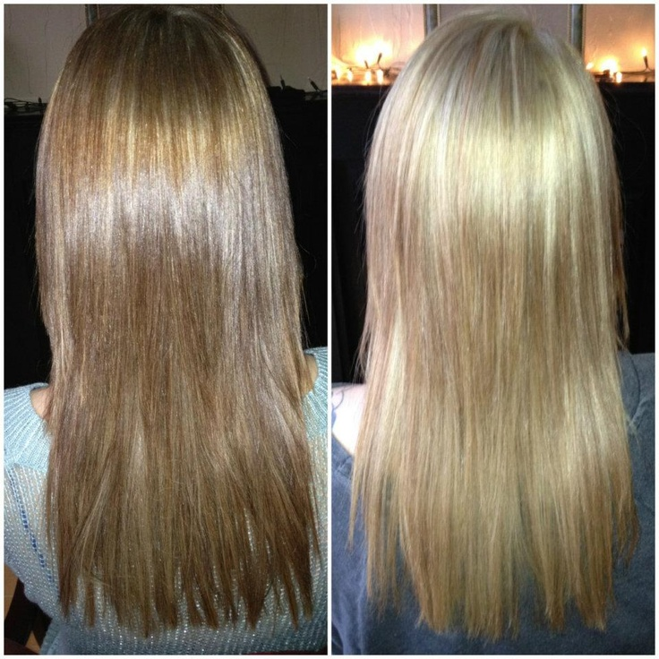 Before and after, from light brown/blonde highlights to ...