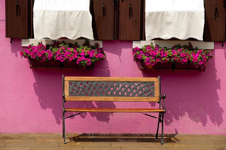 VERY Pink Wall And Bench Burano Italy Photograph