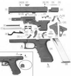 """Dismantled """"Glock-17"""". It consists from only 33 parts"""