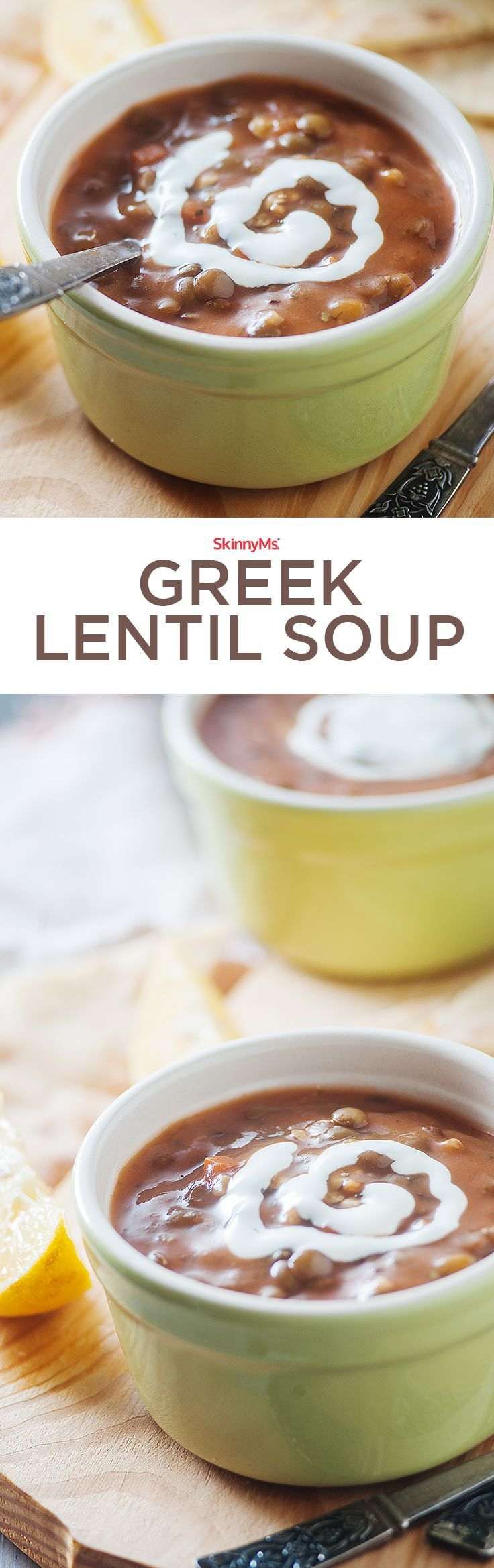 Our Greek Lentil Soup is a tasty and healthy way to incorporate lentils into your diet! Try it tonight! #skinnyms