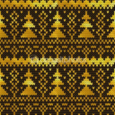 Noel ağaçları ile altın Dikişsiz örgü desen — Stok Vektör © nastyaaroma2011 #90109732