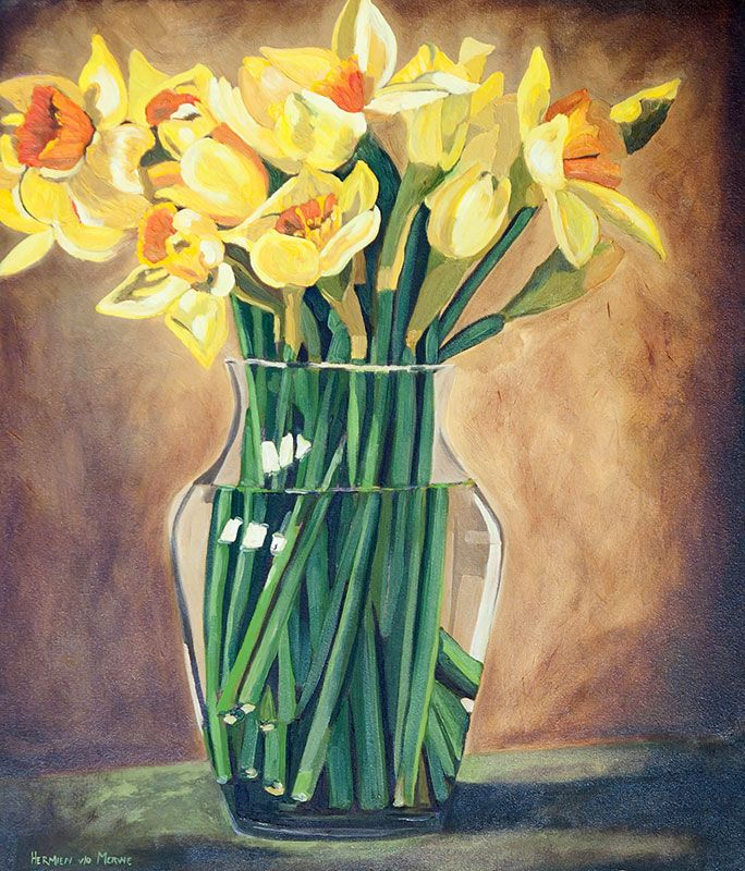 Title: Daffodils Medium: Oil paint on stretched canvas Size: 905mm x 800mm