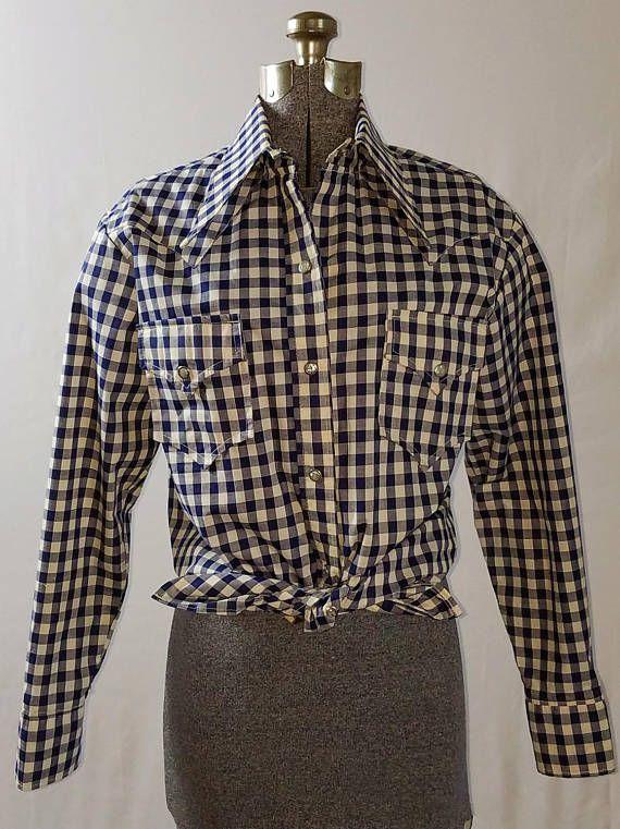 Vintage 1970s Gingham Western Shirt / 70s Rockabilly Shirt /
