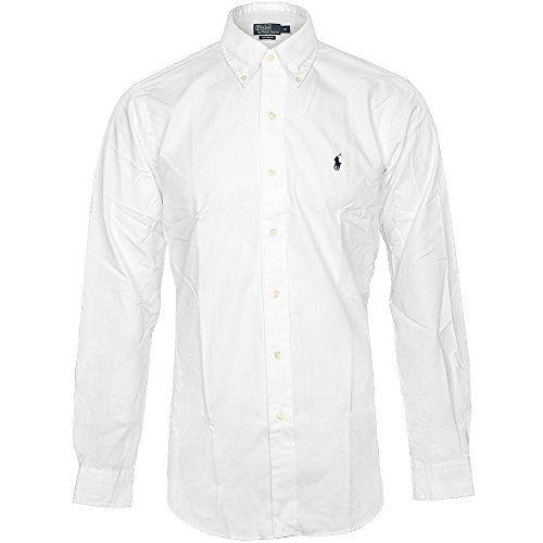 POLO RALPH LAUREN Herren Hemd Slim Fit Weiß Schwarz Reiter Small Pony Größe XL