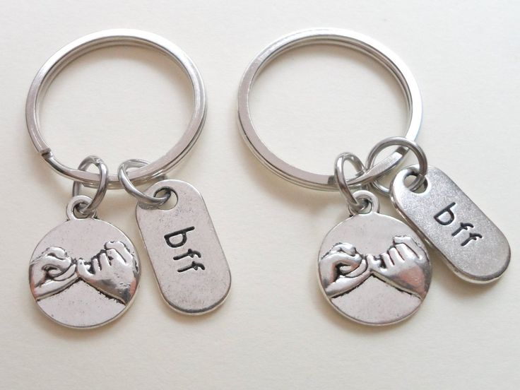 Double bff pinky promise keychains hand bag charm