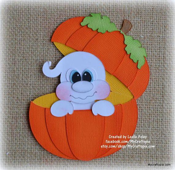 Pumpkin Ghost Halloween Premade Scrapbooking Embellishment