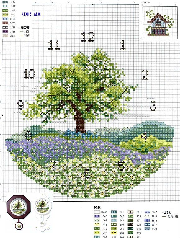 Just Cross Stitch Patterns | This is a cross stitch for a clock but I really like the background so I would leave off the numbers and just use it as a picture.
