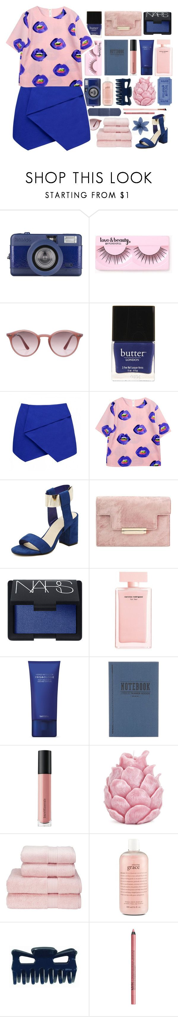 """Alicia"" by vansousa ❤ liked on Polyvore featuring Forever 21, Ray-Ban, Butter London, Forever New, NARS Cosmetics, Narciso Rodriguez, Space NK, Tanner Goods, Bare Escentuals and Zara Home"
