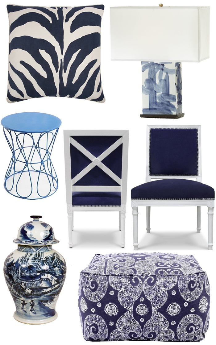navy blue home decor products, chair, lamp, zebra pillow