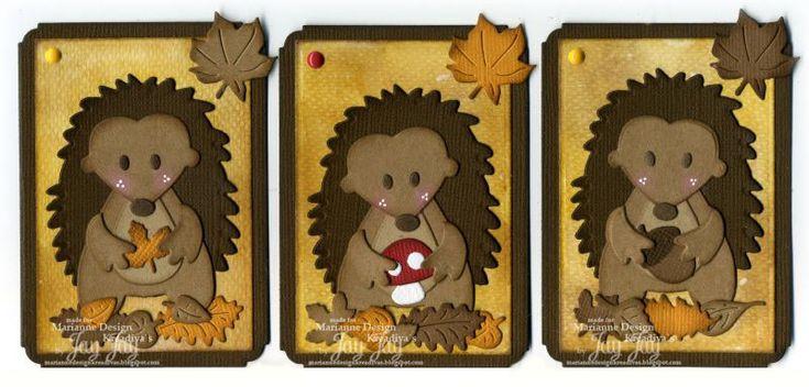 Marianne Design Colletables Hedgehog (COL1368), Craftables Autumn Leaves (CR1336), Creatables Acorn with Leaf (LR0373), Enamel Sticker Green & Orange (PL4502)