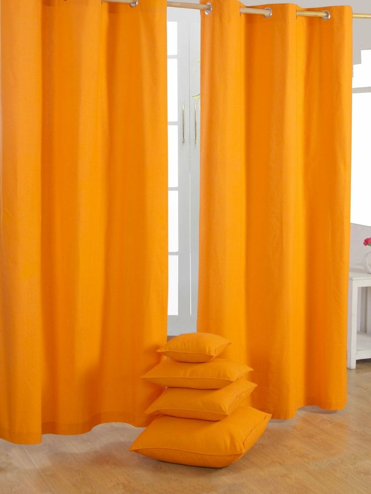 Homescapes Pair Of 100 Cotton Ready Made Curtains Plain Colour Orange 137