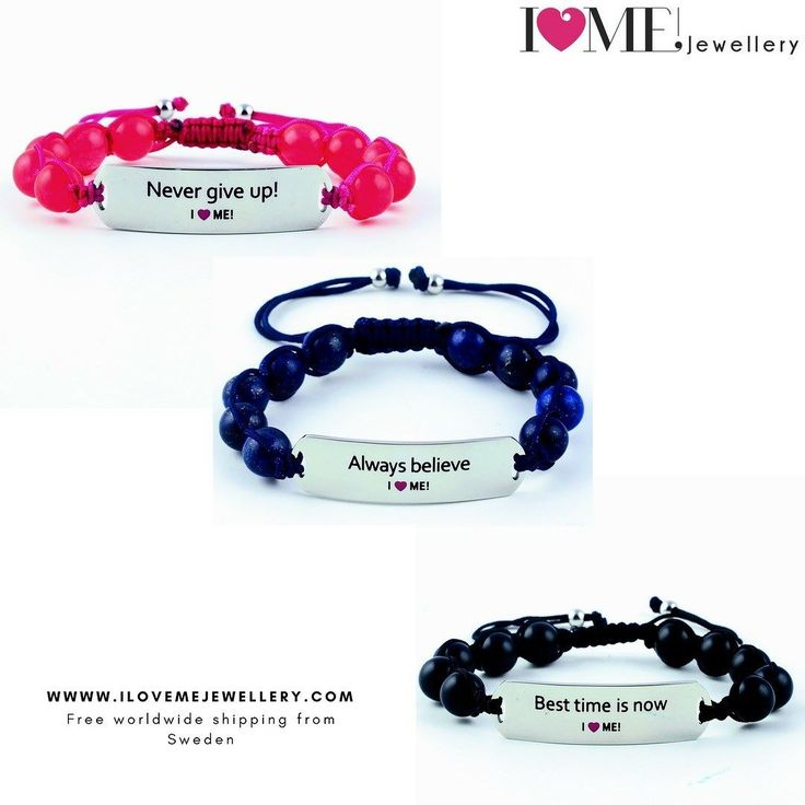 Never give up! & Always believe because the Best time is now!  Buy our trio on our webshop. Link in bio.  Motivational gemstone bracelet in stainless steel and gemstones adjustable non-allergenic sporty.  The perfect gift.  We also produce designs for children in royal blue and sweet pink imperial jade. Light strong created for the active lifestyle. Swim run shower with them and they will not have a scratch.  We free-ship worldwide from Sweden.  #ilovemejewellery #besttimeisnow…