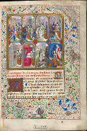Marguerite d'York exécutant les sept œuvres de miséricorde.  Benois seront les misericordieux.  Le Maître du Girart de Roussillon, enlumineur, Bruxelles (?), vers 1468. Bruxelles, KBR, ms. 9296, f. 1 © Bibliothèque royale de Belgique.