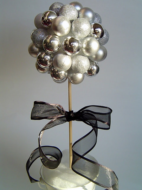 Christmas bulb decor, i want to do something like this but with blue/green for year round in my living room..