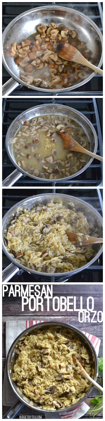 "This simple and flavorful Parmesan Portobello Orzo will become your new ""go to"" side dish. BudgetBytes.com"