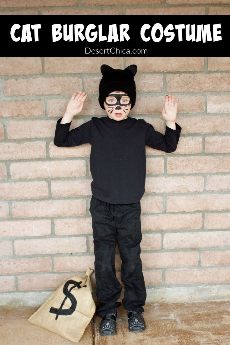 This cat burglar costume is the perfect last minute Halloween costume idea for both kids and adults. You likely have most of what you need already at home.  #Snazoween #sponsored