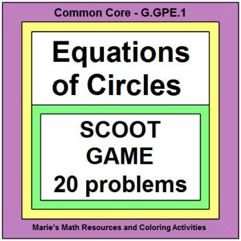 This is a scoot game or walk around the room activity with 20 problems on equations of circles. Students will write equations of circles, graph equations of circles, find the center and radius of a circle, and use the midpoint formula and distance formula.