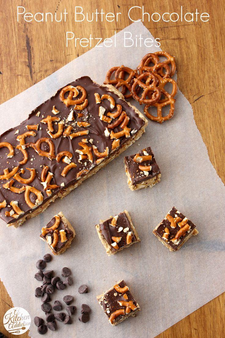Peanut Butter Chocolate Pretzel Bites from @Jessica l A Kitchen Addiction