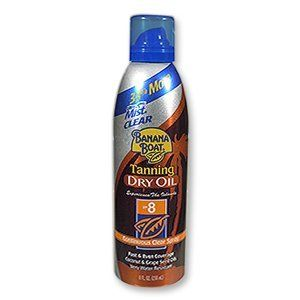 BANANA BOAT UltraMist Tanning Dry Oil SPF 8 Continuous Clear Spray 8 oz by Banana Boat. $9.73. Banana Boat UltraMist Tanning Dry Oil Continuous Spray provides fast and even coverage with one touch. This non-greasy, non-sticky exotic tanning formula is infused with antioxidant-rich grape seed oil, and coconut oil to help give your skin a healthy gloss.Helps Prevent Peeling, Fresh Coconut Rum FragranceUse helps prevent sunburn.