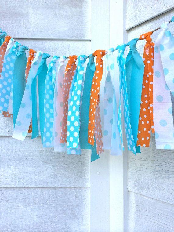 Fabric Garland  Orange and Aqua  Rag Tie Garland  by HalosHaven, $25.00