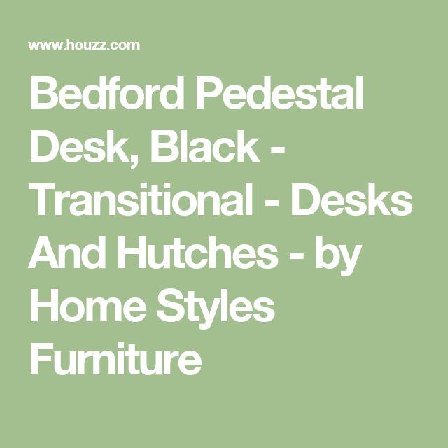 Bedford Pedestal Desk, Black - Transitional - Desks And Hutches - by Home Styles Furniture