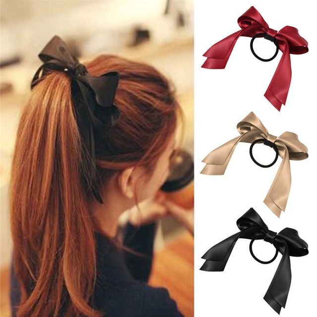 Lackingone hair accessories piece Women Tiara Satin Ribbon Bow Hair Band Rope Scrunchie Ponytail Holder 7 Color Hot