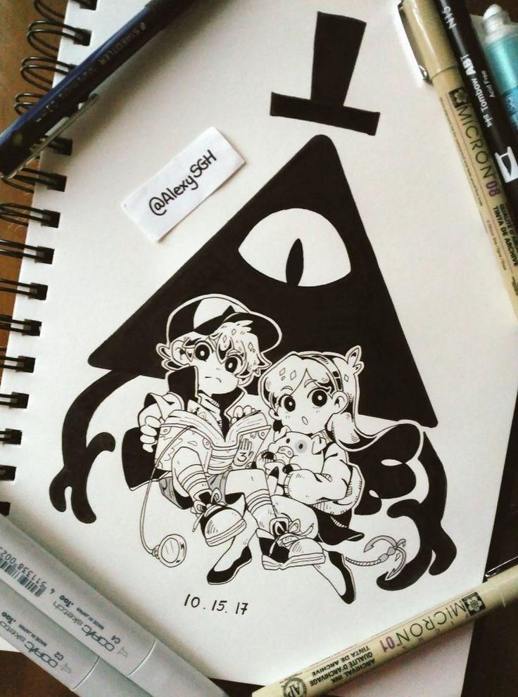 Картинки для срисовки в скетчбук в стиле тумблер гравити фолз