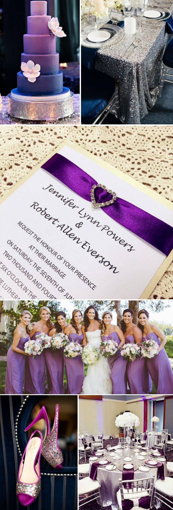 purple and glitter silver wedding ideas and wedding invitations