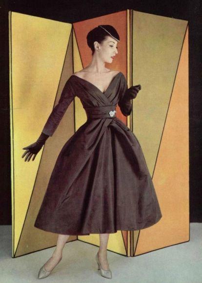 I love the pleats 1956 Christian Dior chocolate cocktail dress: