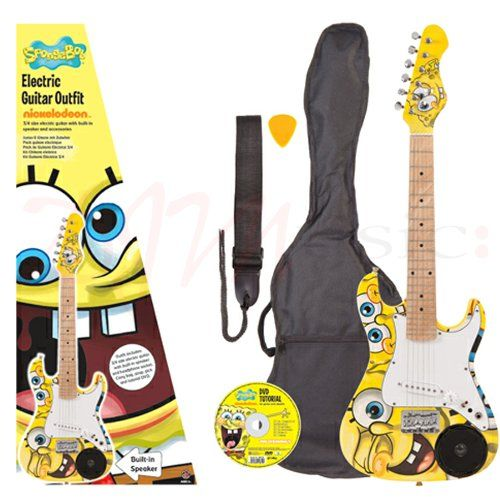 SpongeBob 3/4 Size Electric Guitar - Hey, SpongeBob guitars go punk – turn these guitars up way loud! How about the brilliant SpongeBob graphics on this fab-u-lous guitar? Neat 3/4 size twin cutaway body style, smooth forearm chamfer and rear ribcage contour, maple neck and fretboard, with a single coil pickup and single rotary Volume control all making this an exciting guitar to get into a SpongeBob groove with.
