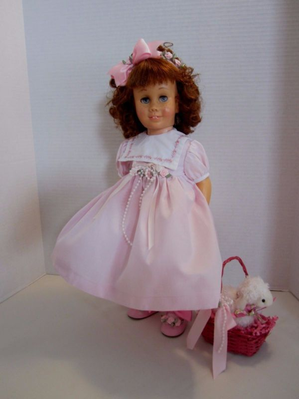 CHATTY CATHY Auburn Pigtail PINK TEA LENGTH EASTER DRESS TALKS FREE SHIPPING