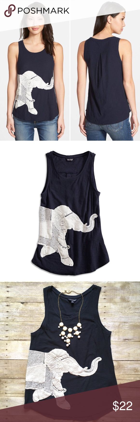 """NWOT Lucky Brand embroidered elephant tank Exotic-inspired tank top crafted from slubbed cotton. Features a scoop neckline, hi-lo curved hem and embroidered elephant graphic. Never worn! Pleated back. 100% cotton. 27""""L.  18"""" bust laying flat. Size medium.    {Location B5} Lucky Brand Tops Tank Tops"""