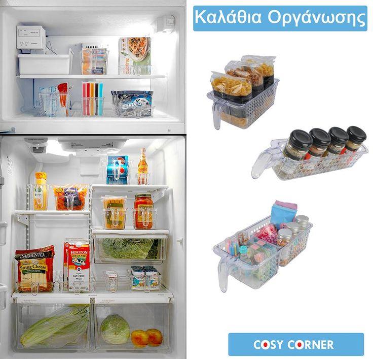 Αυτά τα καλάθια είναι ο τέλειος τρόπος για να οργανώσετε τα ντουλάπια της κουζίνας και τα ράφια στο ψυγείο. http://goo.gl/b9iZWc