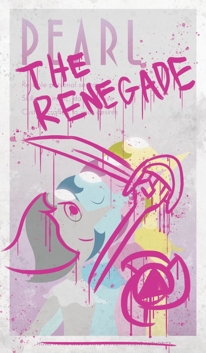 A defaced Homeworld propaganda poster featuring Pearl from Steven Universe.