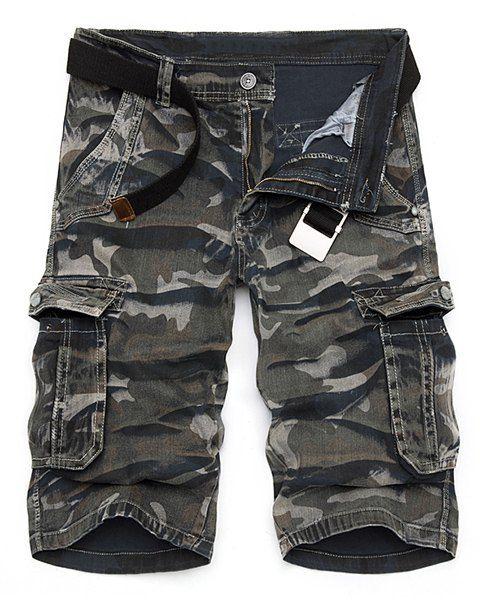 Camouflage Multi-Pocket Loose Fit Straight Leg Zipper Fly Cargo Shorts For Men #women, #men, #hats, #watches, #belts
