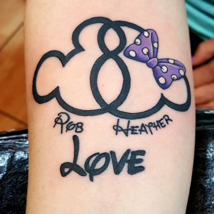 Mickey and Minnie love tattoo. Couples tattoo.