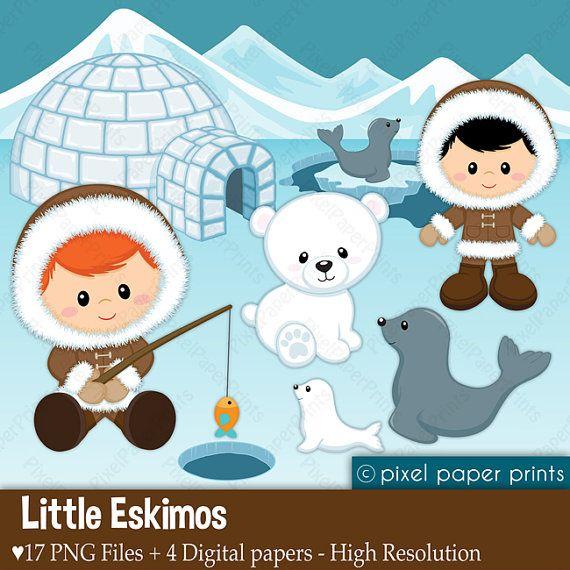 Pequeños esquimales Set de Clip Art y Papeles por pixelpaperprints