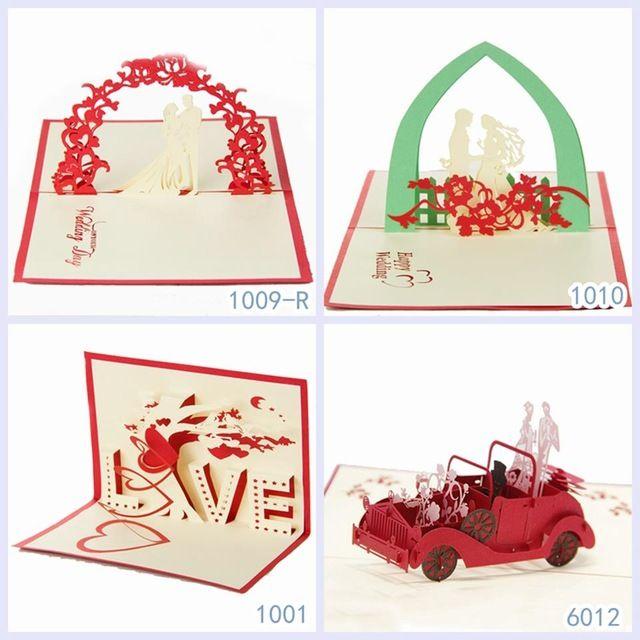Presentes do dia dos namorados amor e de casamento Handmade Kirigami cartões de aniversário 3D Pop up cartões de tipo frete grátis