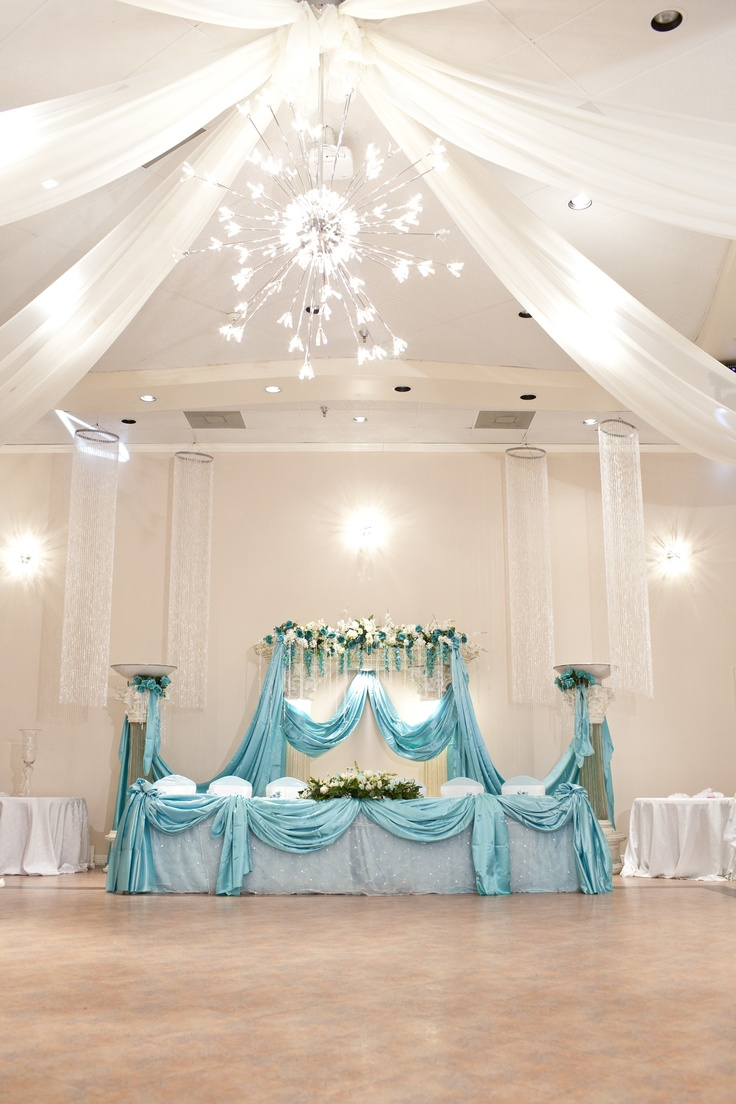 17 best images about tiffany blue quinceanera on for Wedding hall decoration photos