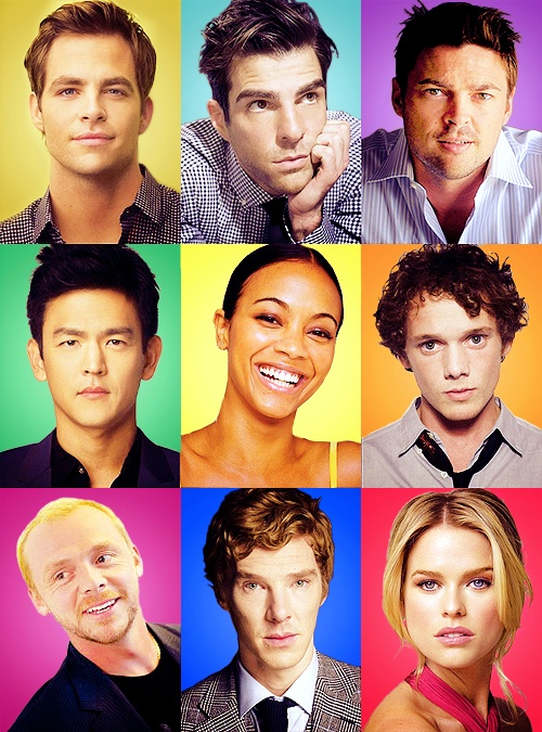 "Cast of ""Star Trek 2013"". Definitely only the one in the bottom middle is important. Why show us pictures of those other goofballs when there is the Batch? (Except for Simon Pegg, he's pretty awesome too! :P)"