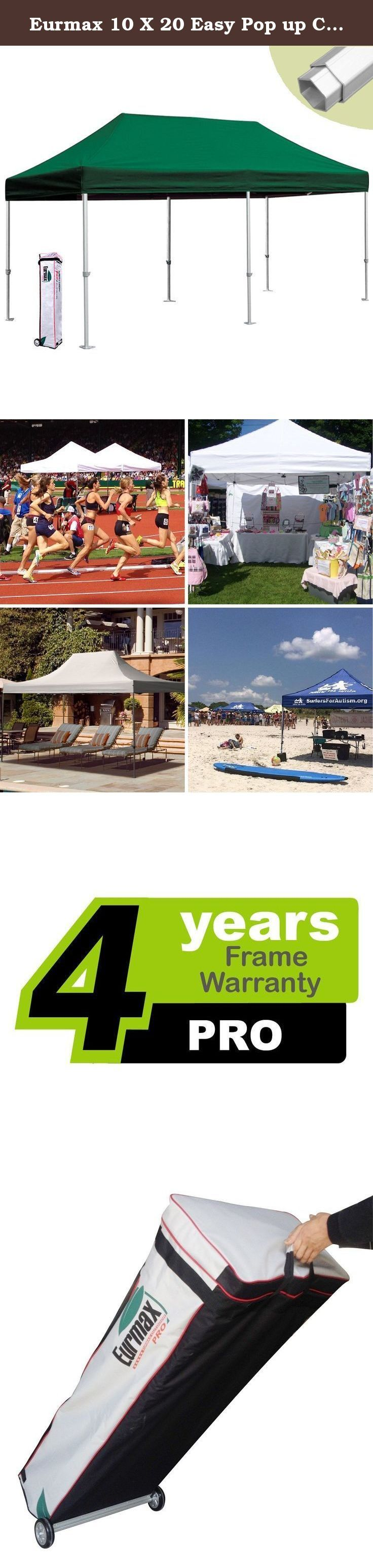 """Eurmax 10 X 20 Easy Pop up Canopy Carport Wedding Party Tent with Roller Bag (Forest). Eurmax New PRO easy pop-up canopy is our high commercial level canopy with Full Aluminum frame, it can be quickly erected by two people without any tools. The canopy is light in weight and high in quality. we have 3 sizes available and 19 colors for your choice. this portable canopy comes with a super wheeled bag with two 4.7"""" wheels which can handle well even on rough ground. One important reason for..."""