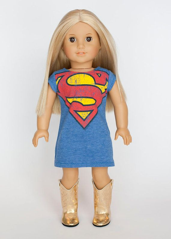 American Girl Doll upcycled superman dress on Etsy, $15.00